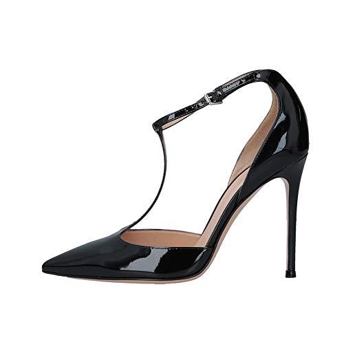 WHL.LL Damen Spitz Schmaler hoher Absatz Einzelne Schuhe T-förmig Fesselriemen Schnalle Hoher Absatz Einzelne Schuhe Pendeln Büro Schuhe (Absatzhöhe: 12cm), Black,38