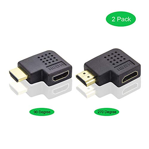 ADWITS Flat HDMI A Stecker auf A Buchse, [2er Pack] 270 Grad und 90 Grad HDMI Adapter Combo, Schwarz (Component-video-audio-combo-kabel)