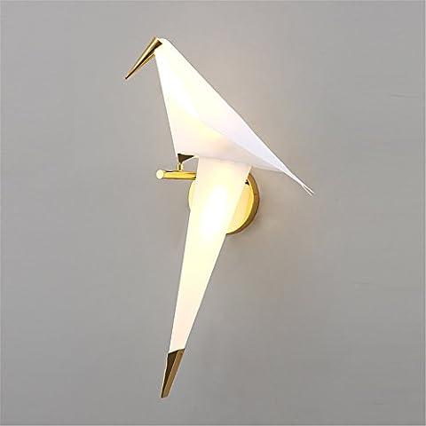 FIONADAN Le Vent Nordique Des Grues De Papier Créatif Appliques De Chevet Fer À Repasser Chambre Salon Décoré Dans Les Couloirs Les Lampes Led (28*49*26Cm)