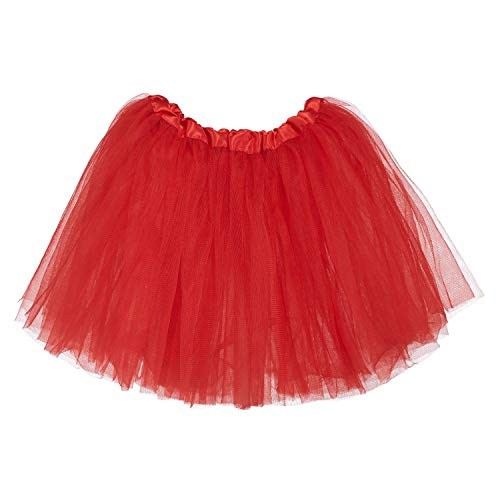 Ksnrang Mädchen Tütü Rock Minirock 3 Lagen Petticoat Tanzkleid Dehnbaren Mini Skater Tutu Rock Erwachsene Ballettrock Tüllrock für Party Halloween Kostüme Tanzen (rot, 2-8 Jahre)