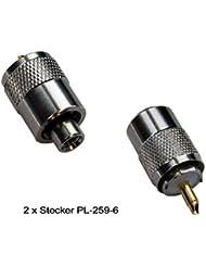 2x Conector PL: 2unidades de conectores de pl 259/6para cable coaxial RG-58U y RG-58(con conector dorado para antenas VHF de radiocontrol marítimo interior o exterior)