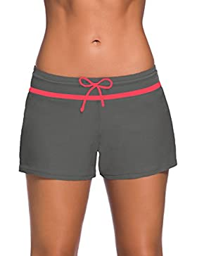 Yavero Bañador Short Mujer, Deportivo Pantalones Cortos de Natación Con cordón ajustable Estilo boyleg Boardshorts...