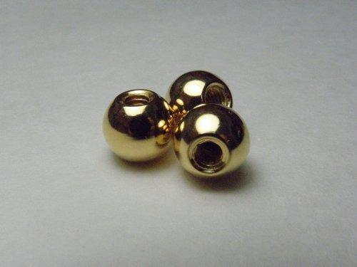 3 Stück vergoldete Kugeln Innengewinde M4, passend für Schrauben M4, Messing mit 24 Karat Gold Überzug, Mutter, Durchmesser 10mm