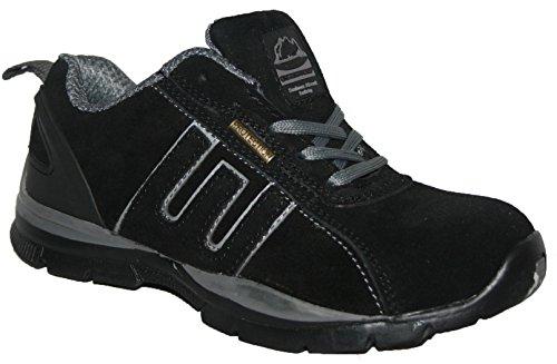 ite Aus Leder, Stahlkappe mit Schnürung Sicherheitsschuhe, Schwarz/Grau - Größe: 42 (Stahl-toe-sneaker Für Frauen)