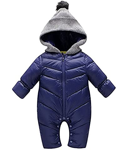 Minetom Newborn Baby Boy Girl Winter Thick Romper Warm Hooded Down Jacket Coat Infant Snowsuit Bodysuits Blue 5-6 Months
