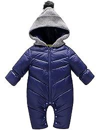 Minetom Bebé Niños Niñas Recién Nacido Invierno Espesar Cálido Cremallera Mameluco Ropa Una Pieza Peleles Pijamas
