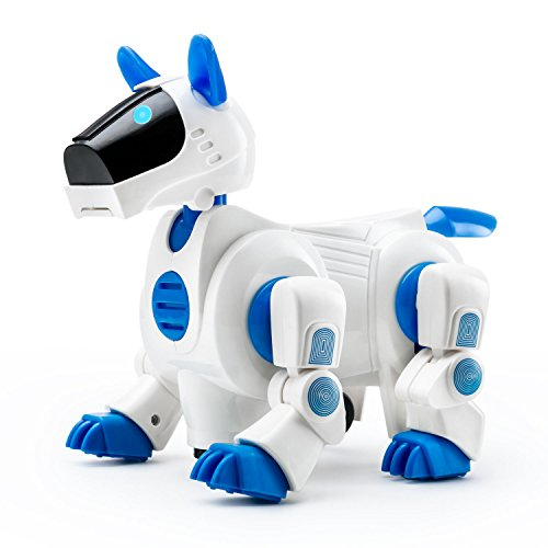 Playtech Logic 09-839 Electronic Puppy Robot Dog Light Up Girls Boys Toys with Sound for Kids, Pet Nodding Barking and Walking Dog Toy with Bump and Go Function, Blue