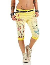 ZARMEXX 12299 Damas pantalones capri pantalones anchos novio Jeans Jeggings fantasía capri de impresión Chinos