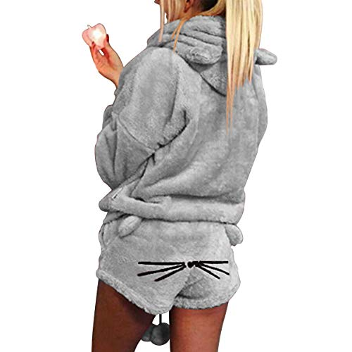 2 unids Mujeres Gato Pijamas Cute Girls Meow Sleepwear Suave Albornoz Shorts Winter Lounge Sleepwear Sets (Color : Gray, Size : L)