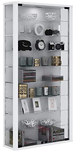 VCM Wandvitrine Sammelvitrine Glasvitrine Wand Vitrine Regal Schrank Glas ohne Beleuchtung Weiß