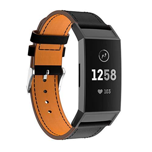 BZLine für Fitbit Charge 3 Watch Armband, Luxus Leder Einstellbar Armband Strap Band Ersatz Uhrenarmband für Fitbit Charge 3