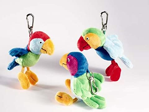 Plüsch Anhänger Papagei Calypso Flügel dunkelblau ca. 11 cm