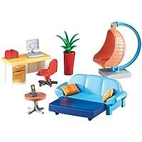 Playmobil 6457. Sala de estar juvenil con escritorio y mecedora colgante de mimbre