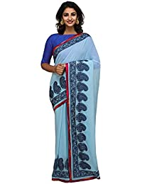 Unnati Silks Women Pastel Blue Embroidered Pure Georgette Saree With Blouse from the Weavers of Punjab(UNM26172)