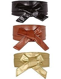 Faleto Ceinture À Nouer Obi En Faux Cuir PU Large Bande Papillon Souple  Bandage Haute Pour Femme Fille Accessoire… 070cfbe8db2