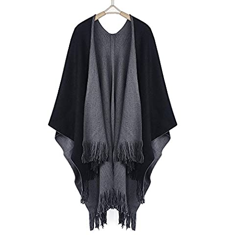 Bescita Women Winter Knitted Cotton Poncho Capes Shawl Cardigans Sweater Coat (Grey)