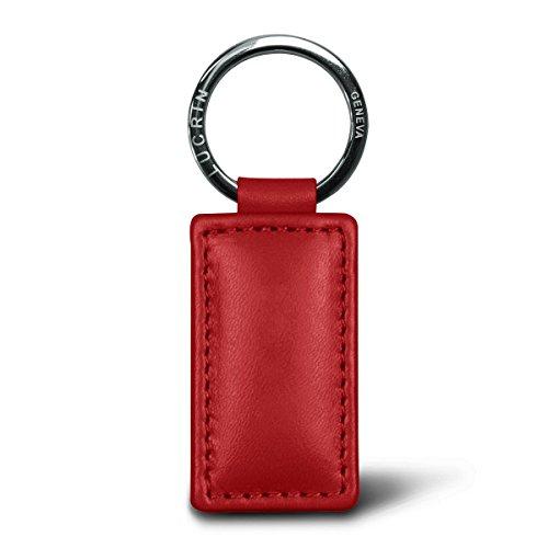 Lucrin Porte Clés Rectangulaire Simple Cuir Vachette Lisse 8 cm Rouge PM1085_VCLS_RGG