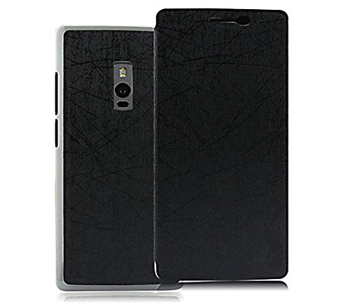 Pudini Yusi Rain Series Leather Flip Cover Stand Case for OnePlus Two / OnePlus 2 - Grayish Black  available at amazon for Rs.198