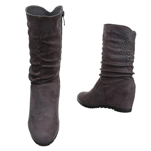 Damen Boots Schuhe Wedges Keil Stiefel Schwarz Grau 35 36 37 38 39 40 41 Grau