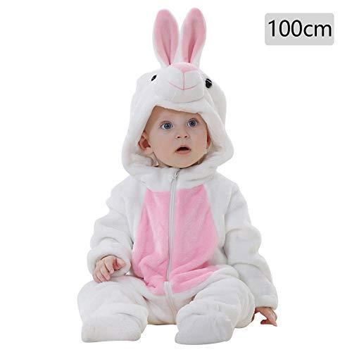 White Rabbit Kinder Kostüm - Baby Kapuzen Strampler Herbst Winter Flanell