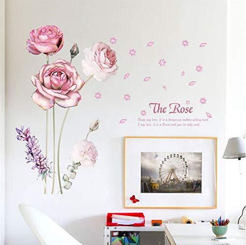 Blütenblatt Und Lavendel Wandaufkleber 3D Rosa Rose Blume Removable Home Decoration Aufkleber Vinyl Floral Schöne 60 Cm * 90 Cm