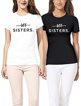 VivaMake® Camisetas Divertidas A Juego De Mejores Amigos Con Manga Corta Para 2 Chicas Impresas Con BFF Sisters...