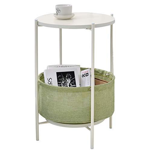 Côté Simple/Coin/Petite Table Basse/Salon Rond téléphone/canapé en Fer forgé côté Table d'appoint, Petit Appartement Design Rond de Plaque Double, Blanc