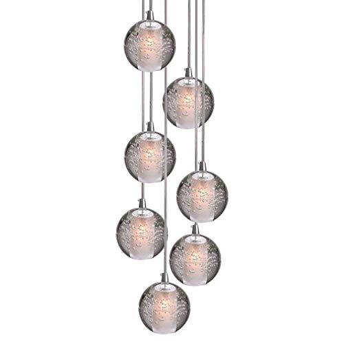 LED Modern Pendelleuchte, K9 Kristall Kugel Kreative Kronleuchter, Hochwertigem Innen Dekoration Hängelampe, Schön Wohnzimmer Leuchte Schlafzimmer Lampe Restaurant Lichter 7* G4 (7-Flammig)