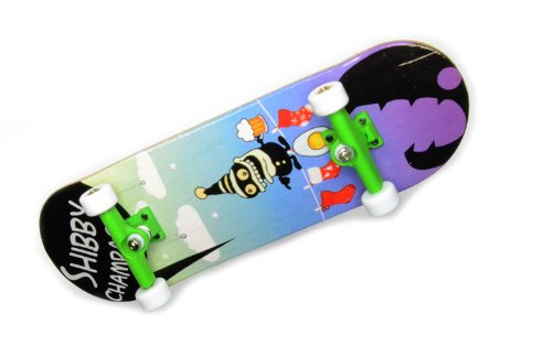 """KOMPLETT Fingerskateboard Shibby Champange #3 \""""Drunken Master\"""" Deck + Achsen GRÜN + ROLY-POLY Wheels WEIß von FREEFINGERS® Handmade Wood Fingerboard"""