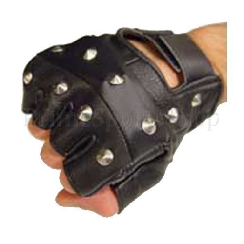 Drucken Fingerlose Handschuhe (PrimeLeather - Hochwertige Handschuhe Echtes Leder Schwarz Mit Nieten Fingerlos Biker Punk Gothic Fahren Radfahren Mittelgroß)