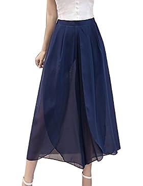 LaoZanA Pantalones Anchos Mujer Pantalon Culotte Verano Sueltos Cintura Alta Elegante Pantalones Fiesta Armada XL