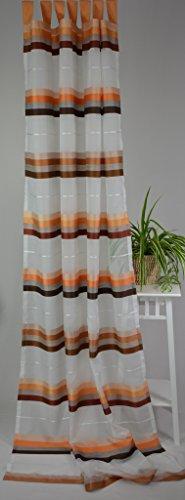 Homing la tenda (2pezzi) sciarpa store tenda semitrasparente passanti–incl. universal band strisce trasversali 140x 245cm bianco/marrone/terracotta