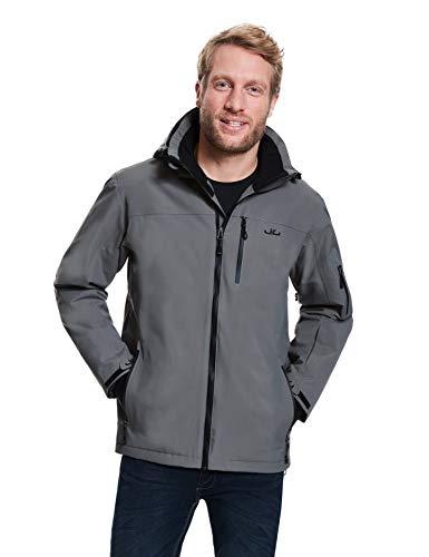 Jeff Green Herren Atmungsaktive Wasserdichte Winter Ski Snowboard Jacke Bergen 12.000mm Wassersäule und Abnehmbare Kapuze, Größe - Herren:56, Farbe:Gunmetal