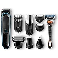 Braun Tondeuse tout-en-un 9-en-1 MGK3085, Tondeuse barbe et  cheveux, Tondeuse spéciale corps, Tondeuse oreilles et nez, Noir/Bleu