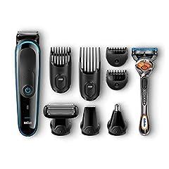 Idea Regalo - Braun MGK3085 MultiGrooming Kit Rifinitore di Precisione Regolabarba 9-in1 per lo Styling di Barba Corpo e Capelli, con Rasoio Gillette Fusion ProGlide in Dotazione, Nero/Blu