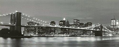 Grande image imprimée sur toile du pont de Brooklyn Bridge à New York éclairée par des LED