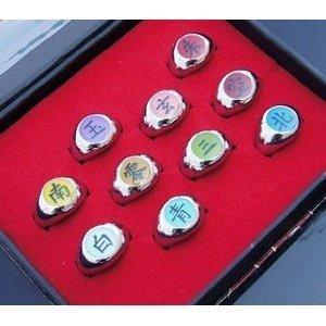 Preisvergleich Produktbild NARUTO - Akatsuki Ringe 10 x Set + Box Rings Anime Manga Cosplay Kostüm