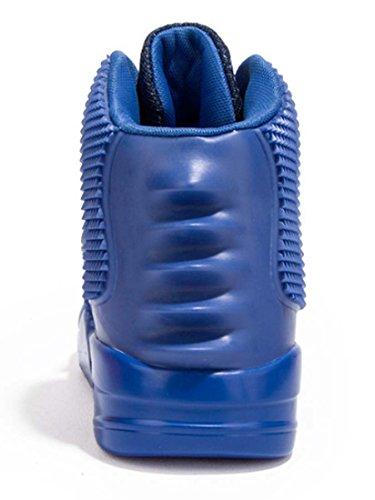 Hommes Sneaker Velcro Hi-top Chaussures De Basket-ball Chic De Bonne Qualité Chaussures De Sport Renforcées À Lacets Coussin Anti-skip Daria Chaussures Bleu
