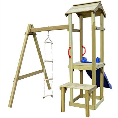 Spielturm Kletterturm Spielplatz mit 1 x Holzturm,1 x Strickleiter, 1 x Wellenrutsche,1 x Extra-Plattform,2 x komfortabler Handgriff | Klettergerüst für den Garten | Spielplatz kinderschaukel