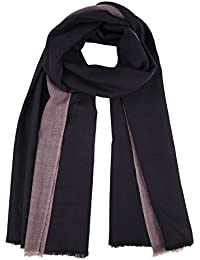 Grande écharpe tissée à la main avec liseré texturé violet de 100x 200cm