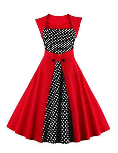 Frauen 1940er Jahre Vintage Colorblock Patchwork Swing Partykleid Red