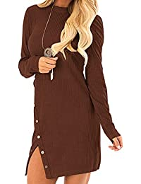 Auxo Femme Mini-Robe Pull Sexy Pull à Col Rond Manche Longue Fente Latérial avec Bouton Pulls Épais Casual Robe Sexy Automne Hiver Fille Pull-Over B-Brune L