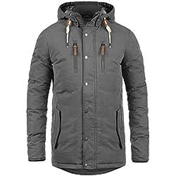 SOLID Dry Jacque Herren Parka lange Winterjacke Mantel mit Kapuze aus hochwertiger Baumwollmischung, Größe:L, Farbe:Dark Grey (2890)
