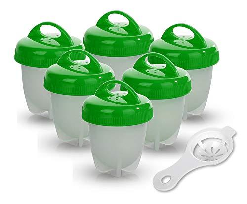 Cuociuova - Antiaderente Egg Cooker Boiler [BPA Free/Approvato dalla FDA/Lavabile in Lavastoviglie] con Separatore Tuorlo d' Uovo (6 Portauova) (Verde)