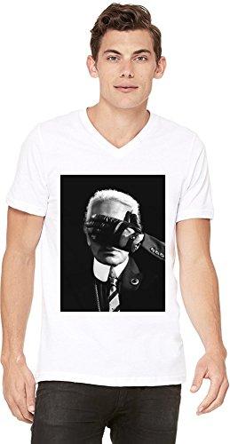 Karl lagerfeld fashion icon da uomo con scollo a v white x-large