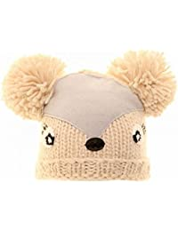 Bonnet tricoté à motif et pompons - Fille