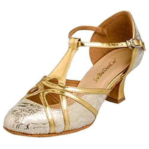 Azbro Women Shimmer Hollow Out Latin Dance High Heel Sandals Shoes Golden