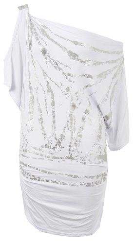 Fast Fashion - Top Chauve Souris Epaule Nu Imprimé - Femme Blanc