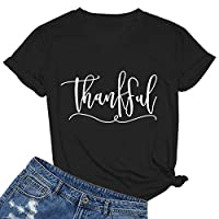 MIMOORN Women's Short Sleeve Letter Printed V Neck Tee Tops Casual T-Shirt Black XX-Large