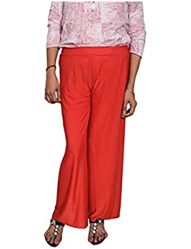 Indian Handicrfats Export Indino Garments Flared Women's Red Trousers